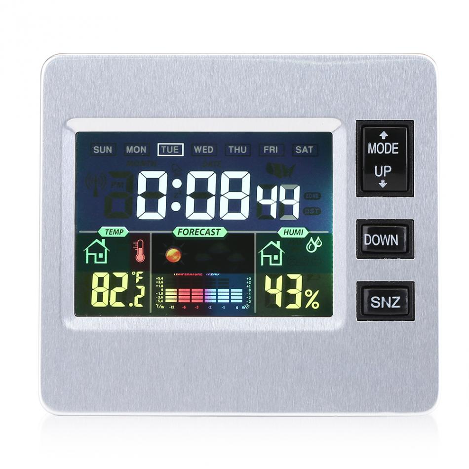 Hilitand LCD Digital Backlight Weather Humidity Temp Display Alarm Clock Thermometer Hygrometer Weather Station LCD Clock