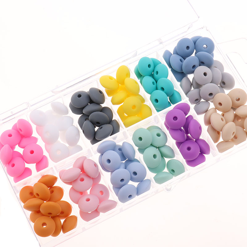 12*7mm 100pcs Baby Teether Pearl Silicone Lentil Beads BPA Free Babies Teething Necklace Bracelet DIY Charming Nursing Toys Care