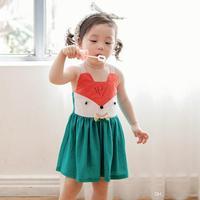 EverweekenNew Słodkie Niemowlęta Dziewcząt Fox Projekt Sukienka Letnie Sukienki Halter Cukierki Kolor Stylowy Kreskówki Wiewiórka Zachodnich Girls Dress