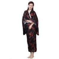 New Arrival Black Red Traditional Yukata Japanese Women's Silk Kimono With Obi Vintage Performance Dance Dress One size WK009