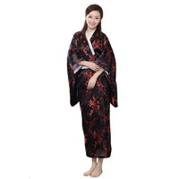 New Arrival Black Red Traditional Yukata Japanese Women's Silk Kimono With Obi Vintage Performance Dance Dress One size WK009