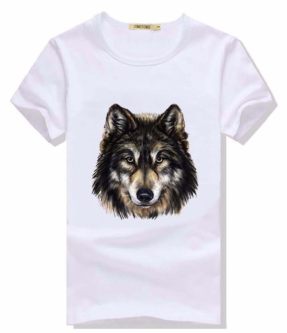 d6e6c259ed9 Wolf T Shirt Men Tshirt Animal Print Mens T Shirts Fashion 2016 Summer Slim  Fit Short
