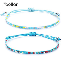 1pc Women Fashion Rise Beads Bracelet Handmade Woven Friendship Rope Charm Bracelet Bohemia Adjustable Jewelry straw woven rope beads friendship bracelets set
