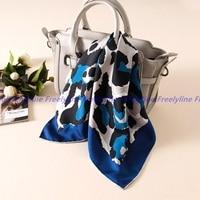 Fashion Leopard Print 100 Silk Bandana Neckerchief Women Small Square Silk Scarfs Wraps Head Scarves For