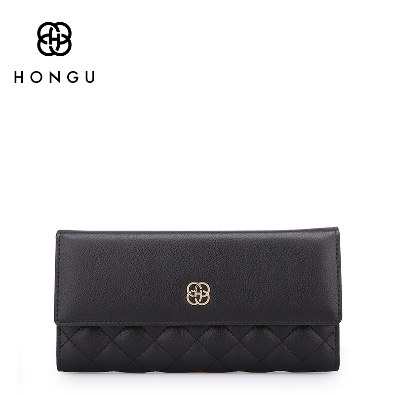 Hongu Women Genuine Leather Diamond Long Wallet Female Evening bag Famous Brand Ladies Long Clutches With Coin Purse Card Holder fashion women s wallet purse evening clutches handbag genuine leather serpentine chains shoulder crossbody phone bag card holder