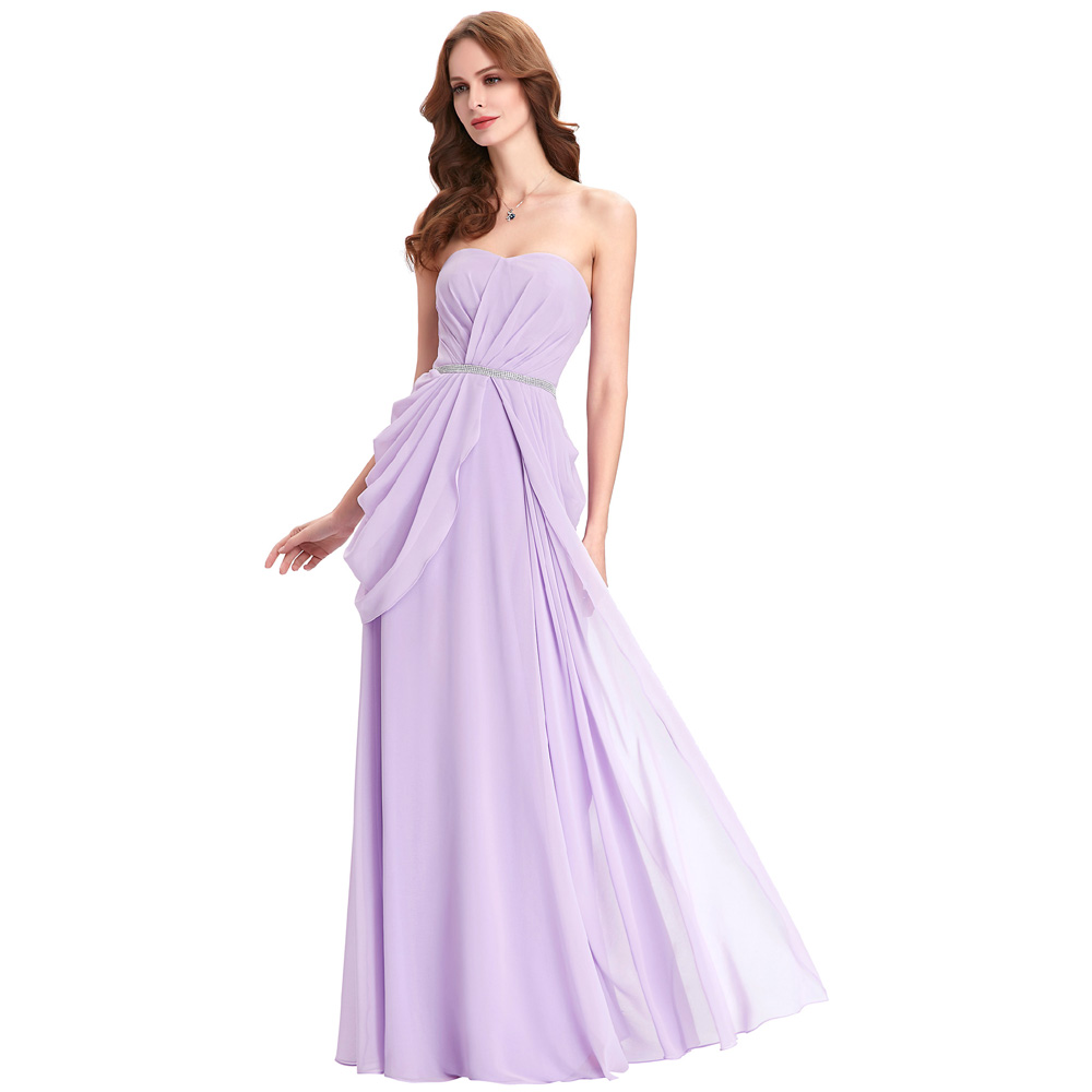 Kate Kasin Lavender Bridesmaid Dresses Long Chiffon Dress Floor ...