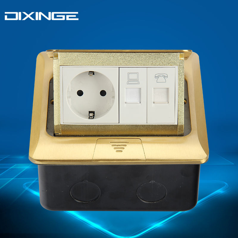 German Standard Telephone And Computer Wall Power Socket Electrical Outlet Socket Yellow Universal Double Port B146-T134 dixinge high quality brand german standard socket wall socket tv outlet silvery were pc material panel b120 l134