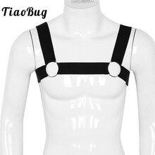 TiaoBug Men Shoulder Straps Crop Top Elastic Chest Muscle Metal Rings Harness Hot Sexy Male BDSM Bondage Belt Club Party Costume