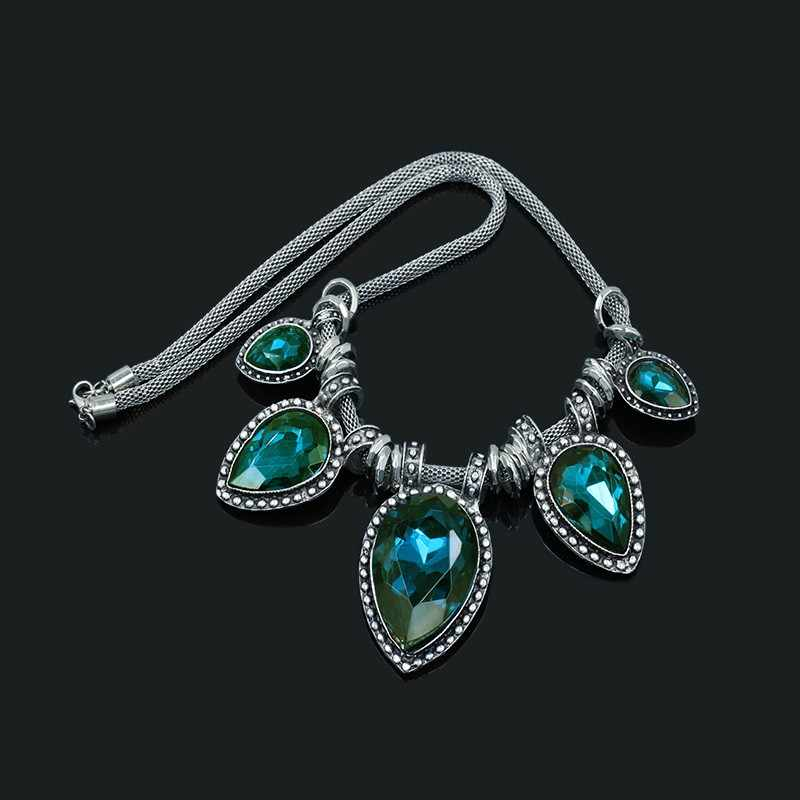 W stylu Vintage srebrny kolor dżetów kropla wody wisiorek naszyjnik dla kobiet oświadczenie biżuteria z 46 cm łańcuch
