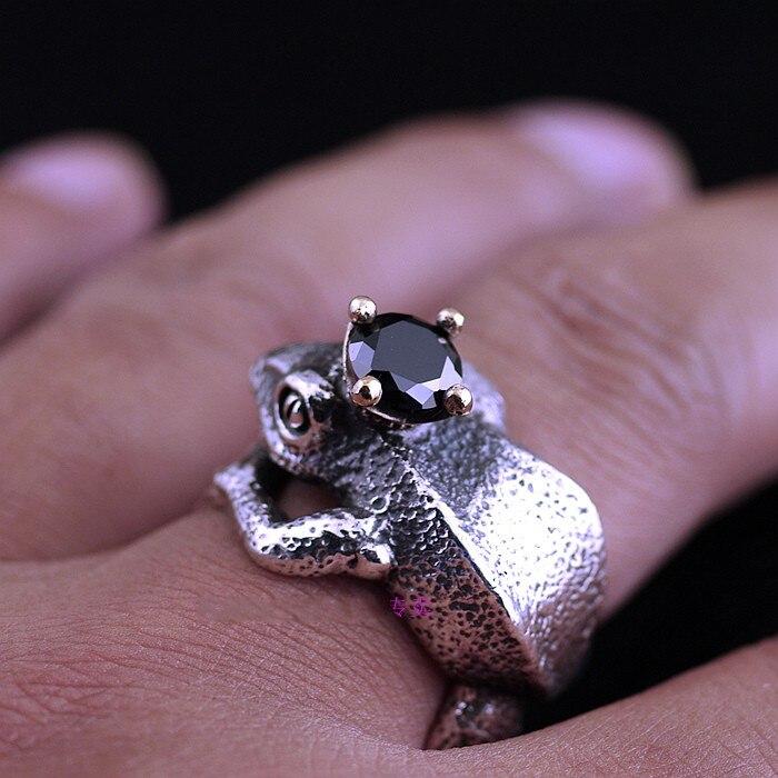 Ретро 925 стерлингового серебра лягушка Цена тайский серебряное кольцо