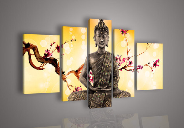 Handpainted Oil Painting on canvas religious Buddha statue plum ...