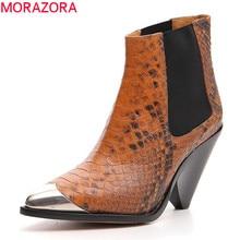 MORAZORA 2020 en kaliteli hakiki deri yarım çizmeler kadınlar için metal üst Chelsea çizmeler moda sonbahar yüksek topuklu ayakkabılar bayanlar