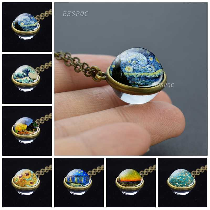 Starry Night Van Gogh Art Painting Necklace Retro Double Side Glass Ball Pendant Bronze Copper Alloy Necklace Gifts for Women