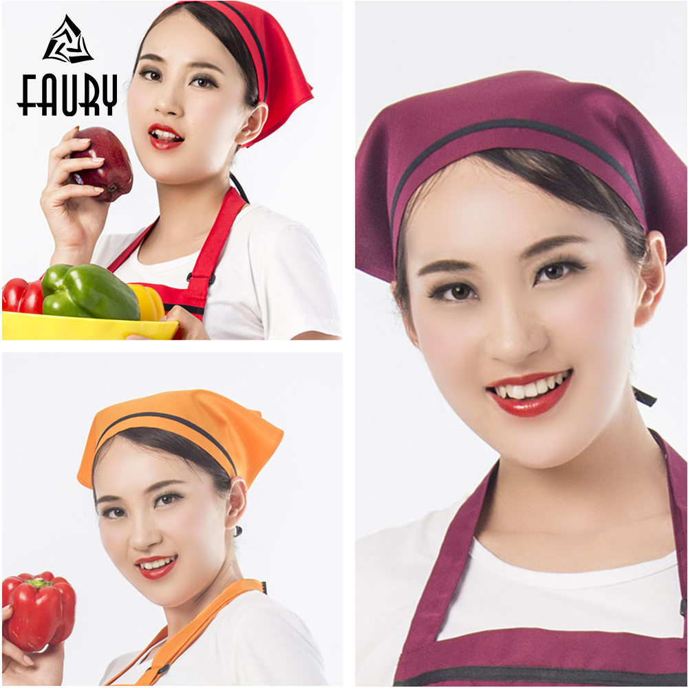 Chef Waiter Waitress Hat Food Service Caps Cafe Restaurant Work Cooking Cap Kitchen Bakery Catering Triangle Headscarf 10 Colors