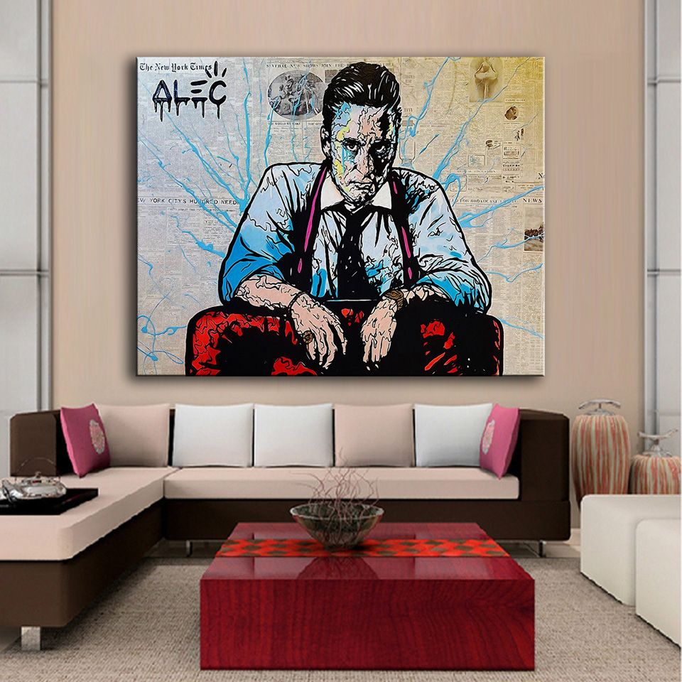 Room wall graffiti - Hdartisan Printing Oil Painting Man Alec Monopoly Graffiti Art Wall Painting Decor Wall Art Picture Room