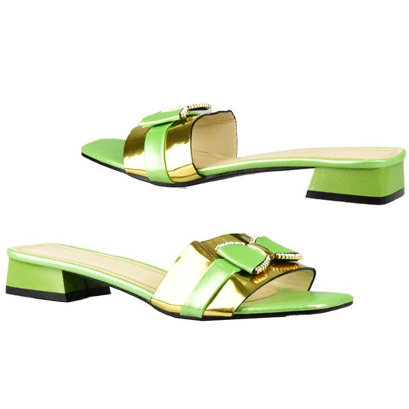 Chaussures Dames Pompes D'été or vert Décoré Couleur Clair Dernières Sexy Haute Strass Bas Vert Slip Pantoufle Talons Femmes Qualité Sur pourpre Les Noir Avec QrBdCWxeo