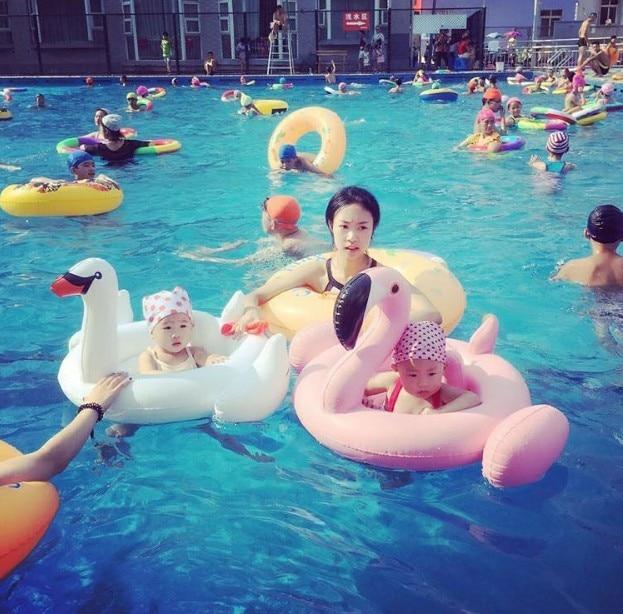 Summer Baby Pink Flamingo Swimming Ring Inflatable White Swan Swim Float Water Fun Pool Toys Swim Ring Seat Boat Kids Swimming