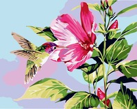 Frameless Pink Flower DIY Painting By Number Hand Printed Oil Painting Wall Art Picture Home Decor