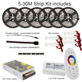 10m 20m 25m 30m RGB RGBW Led Strip Waterproof 5050 300 led 5m IP65 tape + Touch Remote Controller + 12V Power Adapter +Amplifier