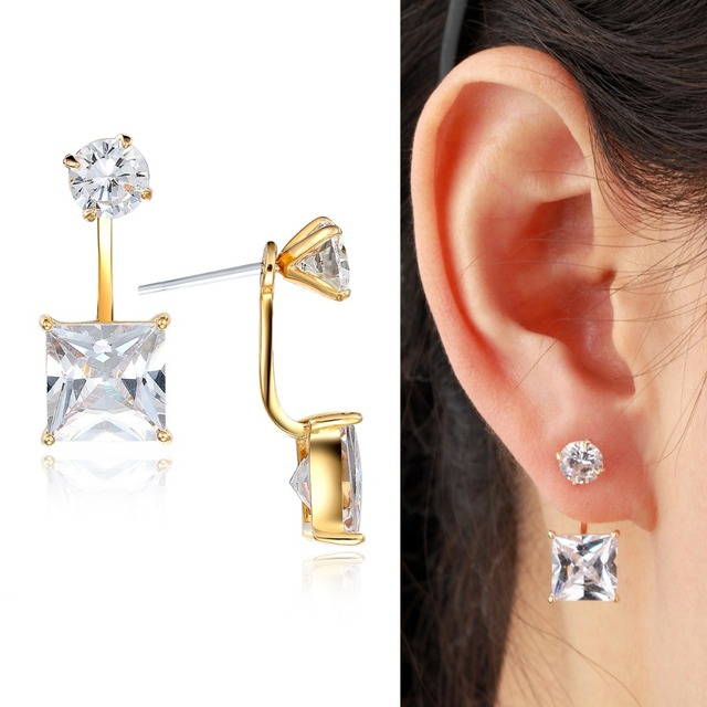 Front And Back Yellow Gold Color Ear Jacket Round Princess Cut Square Cz Swing Stud Earrings