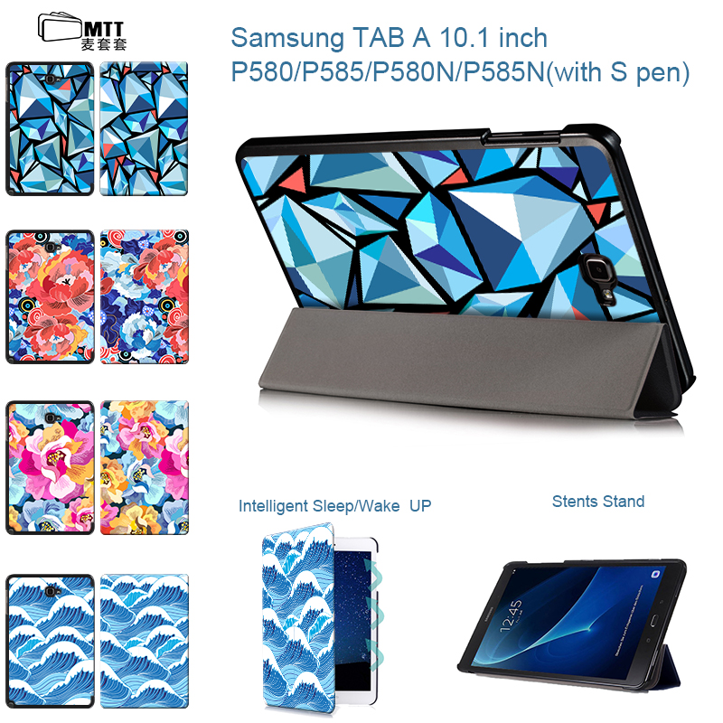 MTT Tablet Case For Samsung Galaxy Tab A A6 With S Pen 10.1'' inch P580 P585 P580N Coque fundas PU Leather Folding Stand Cover for samsung galaxy tab a 9 7 case pu leather shockproof coque with stand tablet cover cases for samsung galaxy tab a 9 7 t550