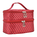 Womens Fashion Portable Toiletry Bag Dot Pattern Double Layer Makeup Bag Organizer red