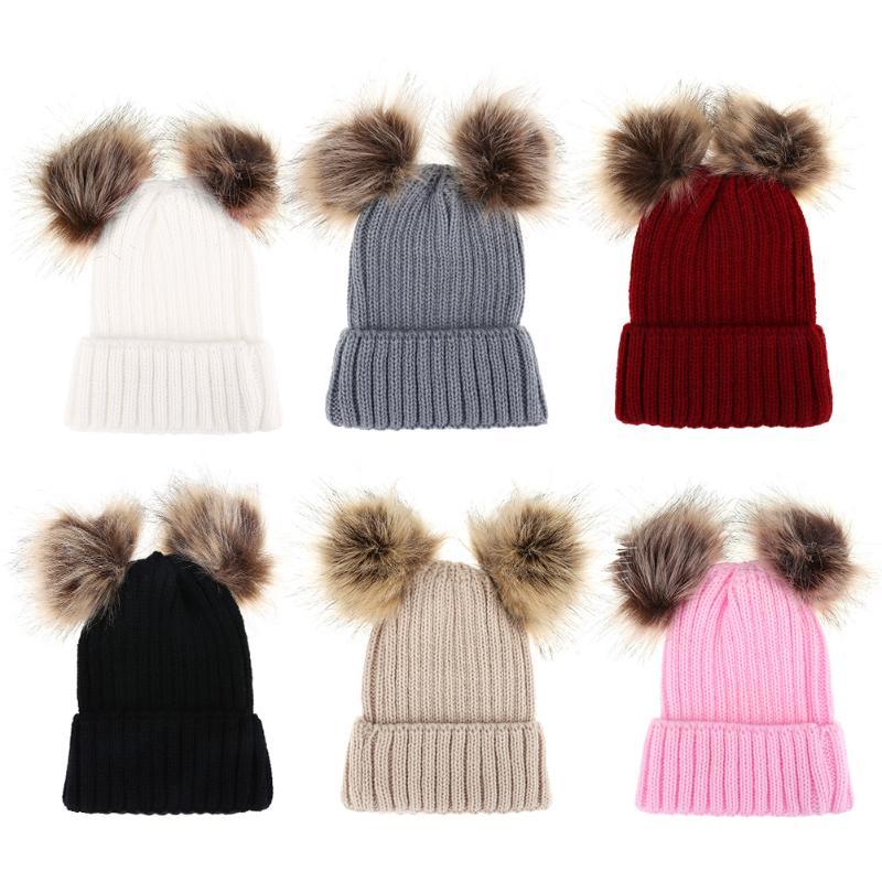 Familia bebé Niñas Niños Otoño Invierno tapas sombrero caliente mamá ...