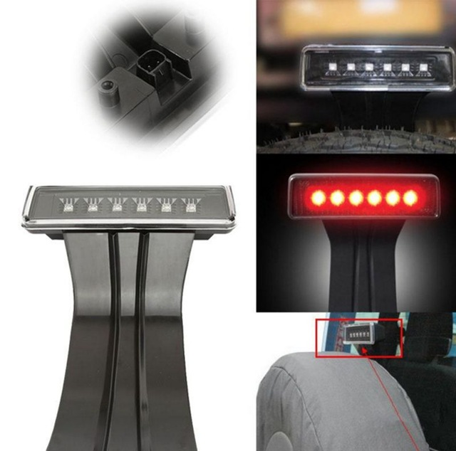 15W Black 6 LED Rear Tail 3rd Led Brake Light Third Brake Lamp Red For Jeep Wrangler JK Sport Altitude Unlimited car taillight spare tire led third brake light spare tire cover red warning light for jeep wrangler jk accessories 2007 2017