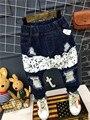 2017 de Primavera y Otoño Los Niños Pantalones Rasgados ROTO HOL Cintura Elástica Bebé de los muchachos Pantalones Vaqueros Ocasionales Más Tamaño Pantalones de Los Niños para los niños 2-6Y