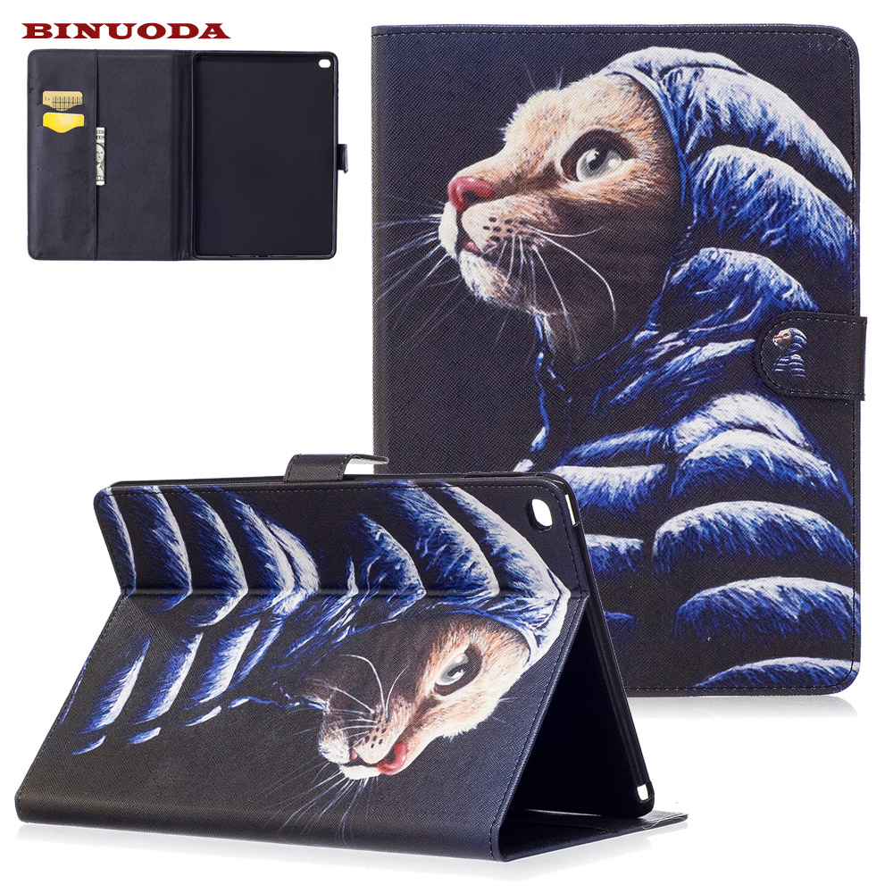 For Coque iPad Air 2 Case Fashion Mouse PU Leather Flip Stand Magnetic Snap Case Cover for iPad Air2 iPad 6 Soft TPU Skin