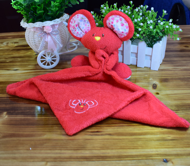 Infant Bedding Dolls Newborn Slobber Towel Baby Sleeping Toy Square Plush Comforting Face Blanket Cotton Bibs Soft Rattle Mouse