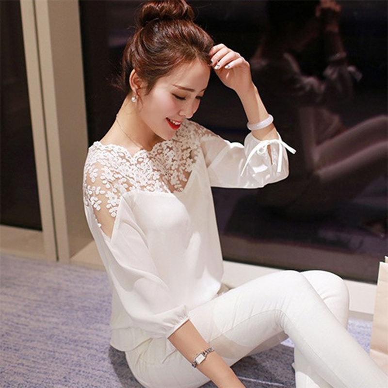 a61b01faff9 US $3.85 20% OFF|Aliexpress.com : Buy Fashion Women Summer Loose Casual  Chiffon Long Sleeve Lace Black White Shirts Tops Blouse from Reliable  blouse ...