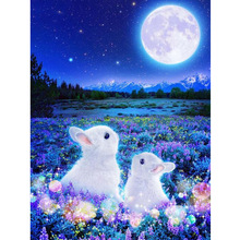 5D DIY Diamond Painting Cross Stitch Moon Lavender and White Rabbits Full Square/Round Mosaic Diamond Embroidery Wall Decoration