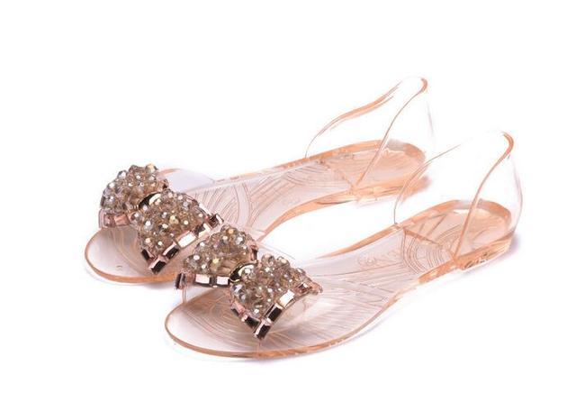 b3655250a Women Rhinestone Bow Sandals Flat Heel Jelly Sandals New 2017 Ladies  Transparent Summer Sandals Free Shipping