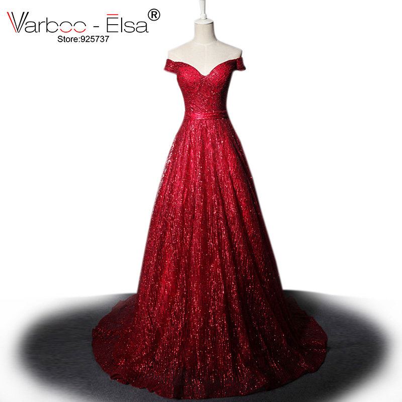 2c32cf4a4b VARBOO ELSA vestido de festa 2018 Luxury Star Crystal Evening Dress Dark  Blue Sexy Strapless Long Prom Dress Glitter Party Dress