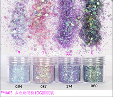лучшая цена 1 Box 10ml Purple Chunky Glitter Nail Sequins Iridescent Flakes Mixed Paillette Festival Glitter Cosmetic Face Hair Body Glitter