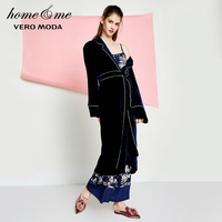 Vero Moda Spring Back Embroidery Waistband Velvet Gown Bathrobe for Women|3181R1502