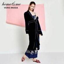 Vero moda 봄 자수 허리띠 벨벳 가운 여성용 목욕 가운
