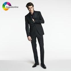 Черные мужские костюмы свадебные костюмы жениха парадный смокинг бизнес одежда 2 шт. (куртка + брюки для девочек) Slim Fit Жених блейзер