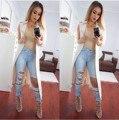 Nova chegada rasgado big hole borlas cintura alta jeans lavado calças jeans de corpo inteiro calças plus size mulheres womans