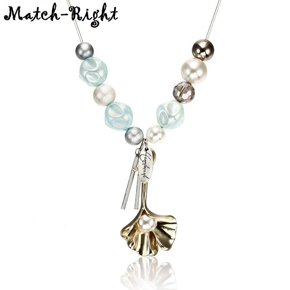 Match-Right Necklaces & Pendants WomenStatementBeadsVintageLadyPearlLong Necklace Women Neck Pendants for Women NR084