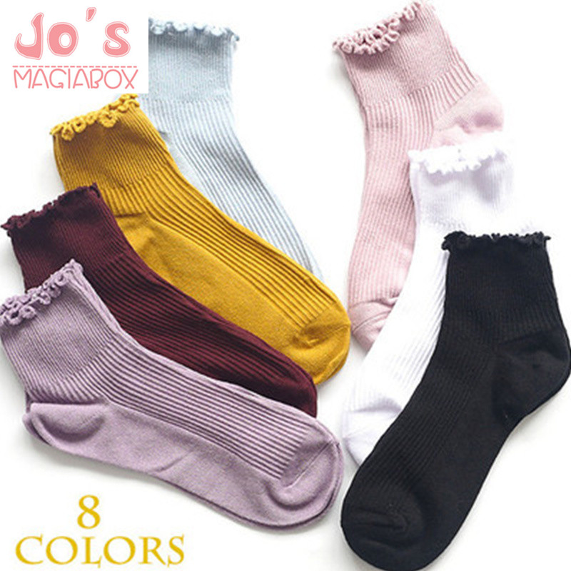 Japan JK Lolita Solid Crimping Full Thread Women's  Socks Cute Cotton Hosiery Casual Sock Slippers Harajuku