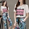Chándales de verano de Las Mujeres Que Arropan el sistema Ocasional 2 Unidades de Ropa Traje Set para Las Mujeres Tops + de Cintura Alta de Ocio Impreso Lápiz pantalones