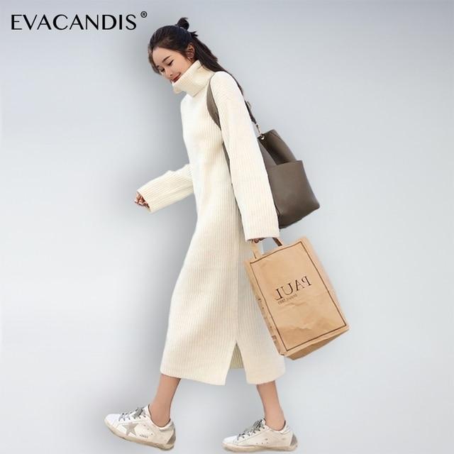 Knitted Turtle Neck Plus Size Long Korean Sweater Dress Elegant Long