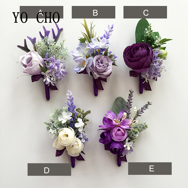 Yo Cho Noble Purple Rose Wedding Flower Artificial Wrist