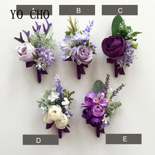 YO CHO Noble Purple Rose Wedding Flower Artificial Wrist Corsage Flower Marriage Rose Hand Boutonniere Flower Bestman Girl Decor