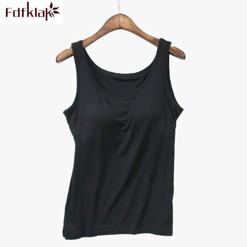 Fdfklak <font><b>Padded</b></font> <font><b>bra</b></font> bottoming tank top sleeveless summer t <font><b>shirt</b></font> women large size cotton female T-<font><b>shirts</b></font> soft short tank <font><b>shirts</b></font> image