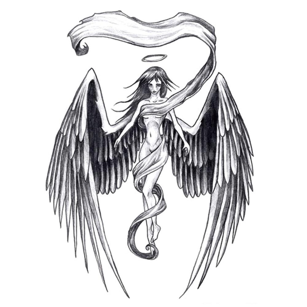 Yeeech Temporary Tattoos Sticker for Women Sexy Fake Long Hair Angel Wings Designs Large Back Arm Leg Body Art Waterproof Black