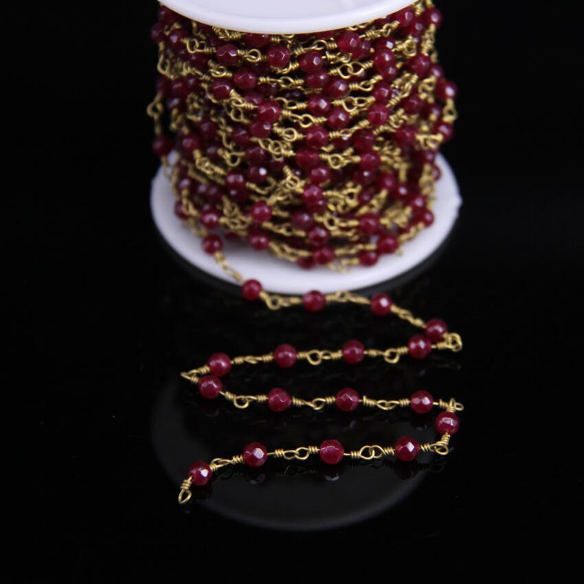 5Meter,Wine Red Malaysia Jades Faceted Rondelle Beads Rosary Chain,2x4mm Jaspers Brass Plated Chain,Necklace bracelet Jewelry