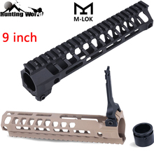 цены Tactical Lightweight Top Picatinny Rail 9 Inch QD M-LOK Free Float Handguard With Barrel Nut for 5.56 M4 Hunting Airsoft Rifle